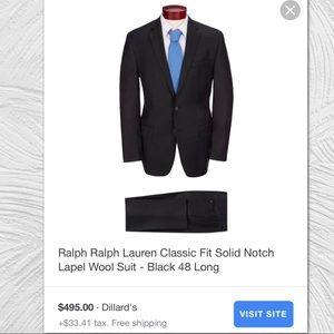 EUC Ralph Lauren Classic Black Wool Suit 48L 32x43